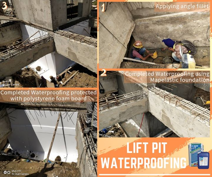 Waterproofing Of Lift Pit Using Mapelastic Foundation Highly