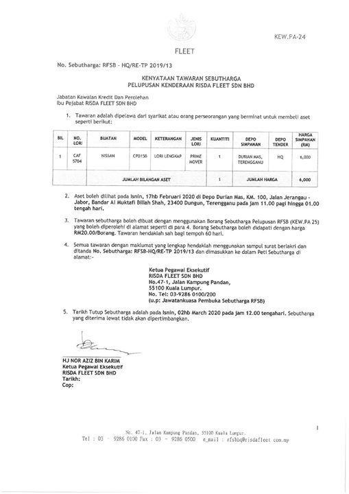 Pelawaan Sebutharga Pelupusan Kenderaan Risda Fleet Sdn. Bhd.